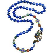 """Chinese Gilded Silver and Enamel Dragon Necklace with Lapis and Carnelian 30"""""""
