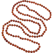 """Russet Red Carnelian Agate Bead Long Necklace 60"""""""
