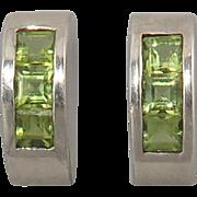 Square Cut Peridot Half Hoop Sterling SIlver Earrings