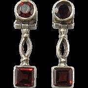 Garnet and Sterling Silver Door Knocker Style Earrings