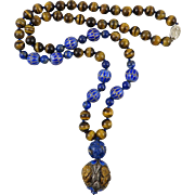 """Chinese Carved Lapis and Tiger Eye Enamel on Silver Necklace 30"""""""