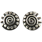 Sterling Silver Abstract Button Style Earrings