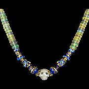 "14K Diamond Eyes Carved Skull   Opal and Enamel Bead Necklace 19"""