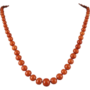 "14K Diamond Mediterranean Red Salmon Coral Art Deco Necklace 21.5"""