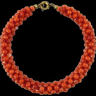 Antique Woven Red Salmon Mediterranean Coral Bracelet