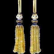 Blue Diamond Carved Skull and Jelly Opal Tassel Earrings 18K Vermeil