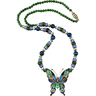 Chrome Diopside and Plique A Jour Enamel Sterling Silver Butterfly Necklace