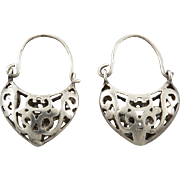 Sterling Openwork Basket Style Tribal Earrings