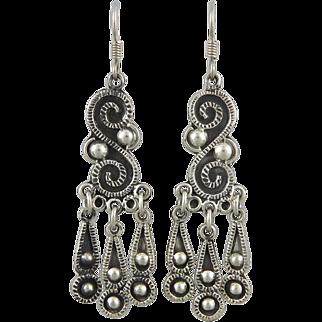Vintage Taxco Fancy Silver Dangle Earrings
