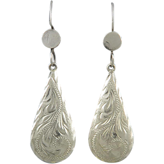 Large Sterling Silver Hand Chased Teardrop Earrings