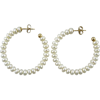 14K Cultured Button Pearl Hoop Earrings