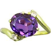 3ct Violet Lab Sapphire 14K Gold Ring