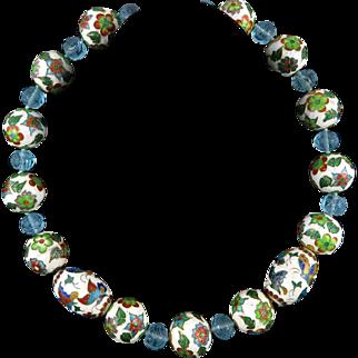 "Large Hand Enameled Chinese Bead and Peking Glass Necklace 22"""