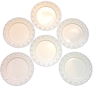 Six Beautiful Kemple Beaded Inverted Heart Milk Glass Plates