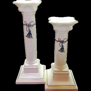 Villeroy and Boch Tassel Verde Ionic Column Candlesticks