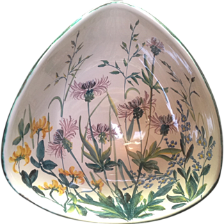 Torben Denmark Keramik Tricorner Bowl with Gorgeous Wildflowers
