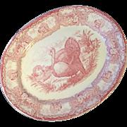 "Extraordinary 20"" Staffordshire RED Thanksgiving Transferware Ironstone Turkey Platter"