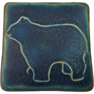 Ltd Edition 1992 Pewabic Pottery Detroit Polar Bear Tile / Arts and Crafts