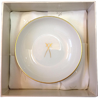Scarce Meissen Small Bowl with Gold and Blue Crossed Swords in Box