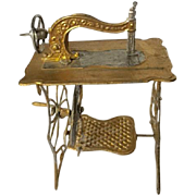 Antique Metal Gilded Sewing Machine for Dollhouse ca. 1900