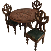 German Antique Dollhouse Table and Chairs