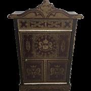 Lovely Antique Dollhouse Boulle Biedermeier Armoire ca.1880's