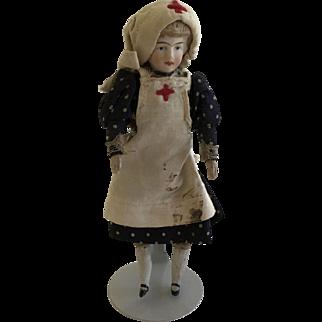 "Antique Bisque 5""  Dollhouse Nurse Doll ca.1900 German"