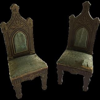 Lovely  Dollhouse Boulle Biedermeir Chairs Ca.1880