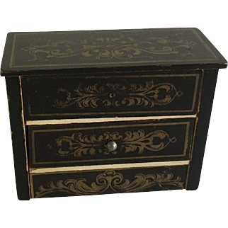 Antique Boulle Dollhouse Chest of Drawers