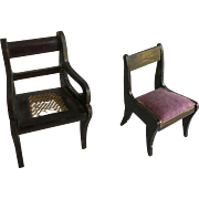 Antique Dollhouse German Chairs ca 1880-1900