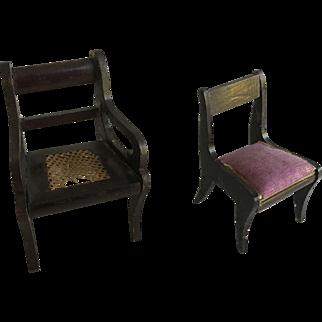 Antique Dollhouse German Chairs ca 1880-1900