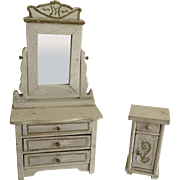 Antique White Schneegas Vanity and Night Stand ca. 1880-1900