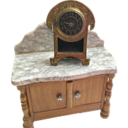 Antique Dollhouse  Mantle Clock by  Ernhard & Sohne Germany ca. 1880's -1900