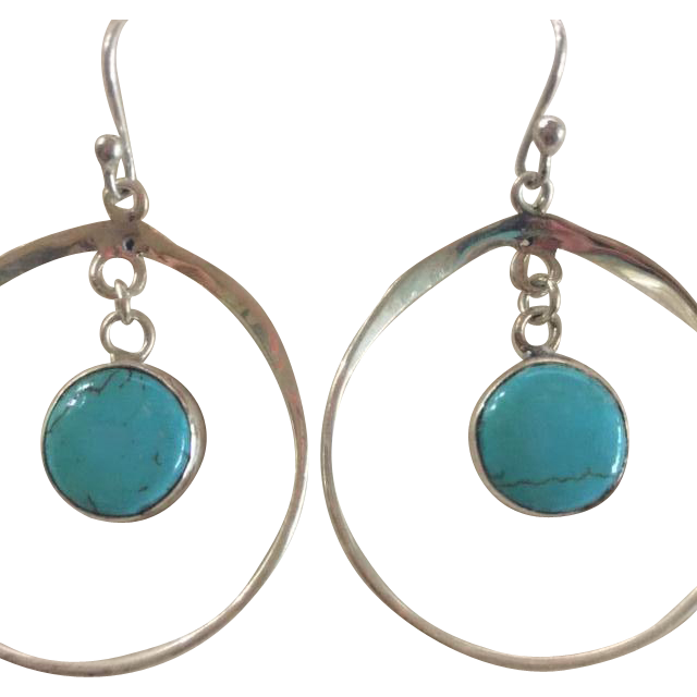 Fabulous Sterling Silver and Turquoise Earrings