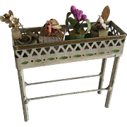 Antique Dollhouse Tinplate Plant Stand