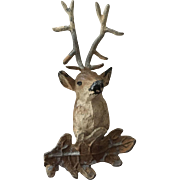 Antique German Metal Dollhouse Deer Head wall ca. 1900