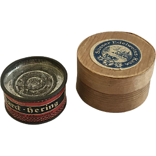 Antique  Dollhouse Tin And Cheese box for German Store Ca.1900