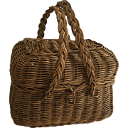 Antique Willow Basket Or Doll Purse ca.1900