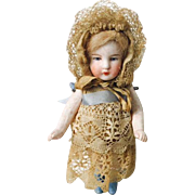 """Darling Antique All Bisque Doll German 4 1/2"""""""
