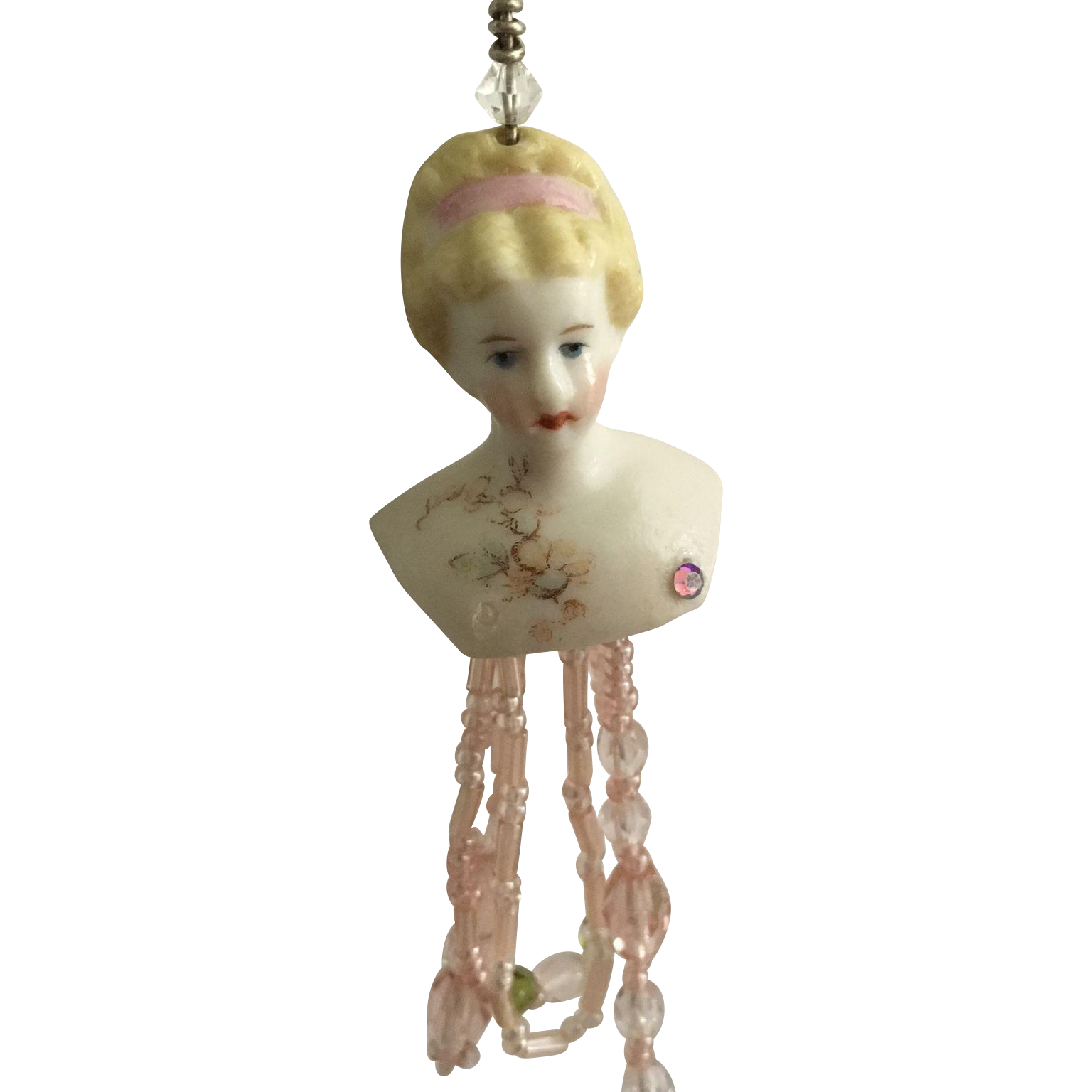 Delightful Parian Doll Head Necklace