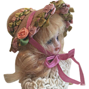 """Beautiful artist made Miniature Hat for 5""""  Antique Bisque Doll - Red Tag Sale Item"""