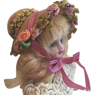 """Beautiful artist made Miniature Hat for 5""""  Antique Bisque Doll"""