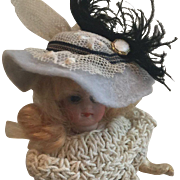"Beautiful Hat Fits 5""Bisque Doll Artist Made"