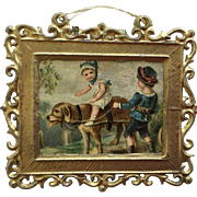 Antique Dollhouse German Metal Picture