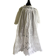 Vintage White Dress For Antique Bisque Doll