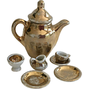 Antique German Gold Lustre Miniature Tea Set ca. 1920