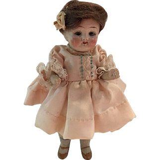 Antique All Bisque Doll with  Glass Eyes ca. 1900