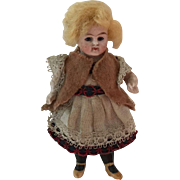"""All Bisque Doll with Glass Eyes 3 1/2"""""""