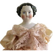 Lovely High Brow China Head Doll 16""