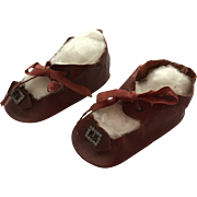 Early Pair of Large  Red Oil Cloth Doll Shoes